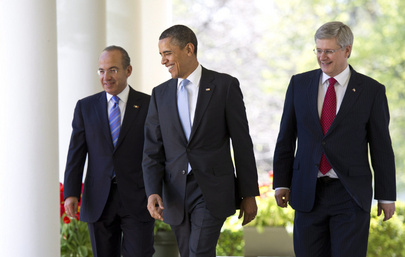 Mexican Pres. Calderon, Obama, Canadian P.M. Harper at the White House