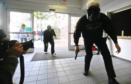 San Diego State simulate a police team searching for a gunman