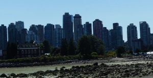 Vancouver Skyline from the bay in Stanley Park