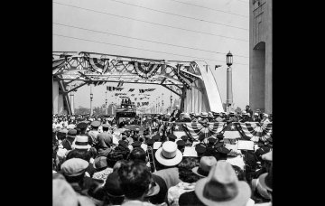 June 16, 1933: Dedication ceremonies of 6th Street bridge and viaduct, built at a cost of $2,383,271. This photo was published in the June 17, 1933 Los Angeles Times.