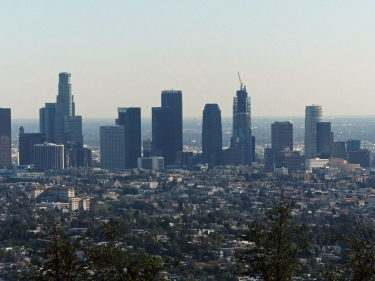 Downtown LA with New tallest bldg under construction