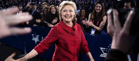 Hillary Clinton looking happy